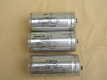 Lot of 3 1930s vintage Mallory capacitors 175 VDC 1250 MFD
