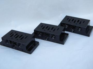 Lot of 3 industrial pneumatic airline manifold blocks VDMA 24345