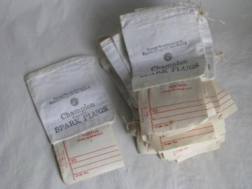 Lot of 30+ muscle car, new-old-stock cloth Champion spark plug shipping bags