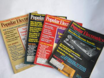 Lot of 4 retro vintage 1975 Popular Electronics magazines w/ projects.