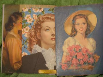 Lot of 40s vintage color litho prints, pretty girls and movie stars