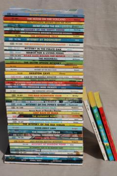 Lot of 50 children's mystery paperback books, 70s vintage Scholastic mysteries for young readers