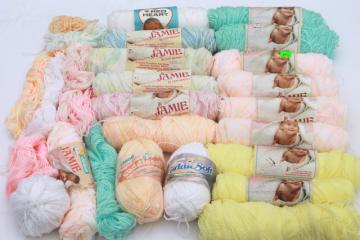 lot of Jamie vintage acrylic yarn, large lot assorted baby pastel colors