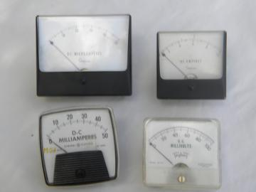 Lot of assorted vintage AC/DC electrical panel meters from makers stash