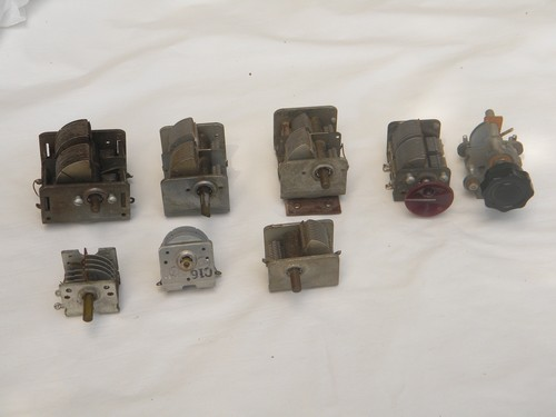 Lot of assorted vintage air variable capacitors for shortwave radio tuning etc.