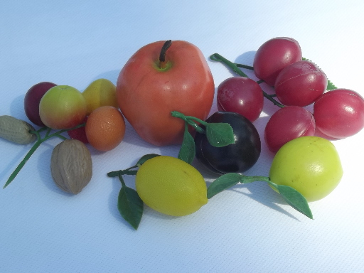 Lot of assorted vintage fake fruit,   artificial fruit for crafts, display