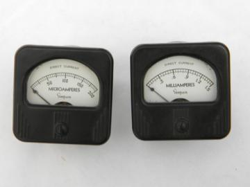 Lot of deco vintage Simpson bakelite electrical panel meters