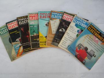 Lot of mid-century 1959 vintage Popular Electronics magazines