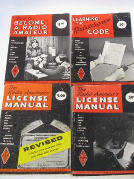 Lot of old Amateur Radio Relay League license manuals morse code guide