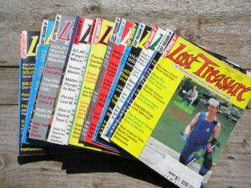 Lot of old Lost Treasure metal detecting magazines, 1990s back issues