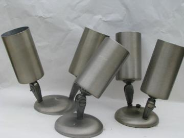 Lot of retro industrial studio wall sconces w/adjustable canister shades