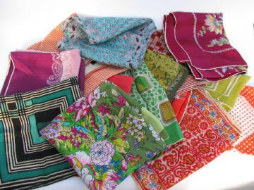 Lot of retro vintage scarves, silk & rayon, bright mod colors!