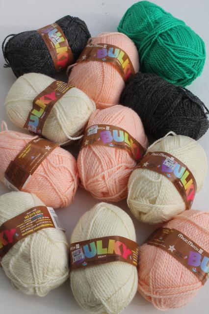 lot of vintage Bulky chunky weight acrylic yarn, peach, grey, ivory