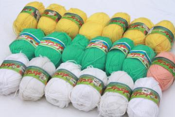 lot of vintage Super Soft acrylic yarn, bright mint, yellow, baby pink colors