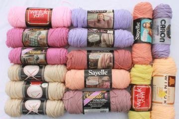 lot of vintage acrylic yarn, 15 skeins pastel sunset desert colors
