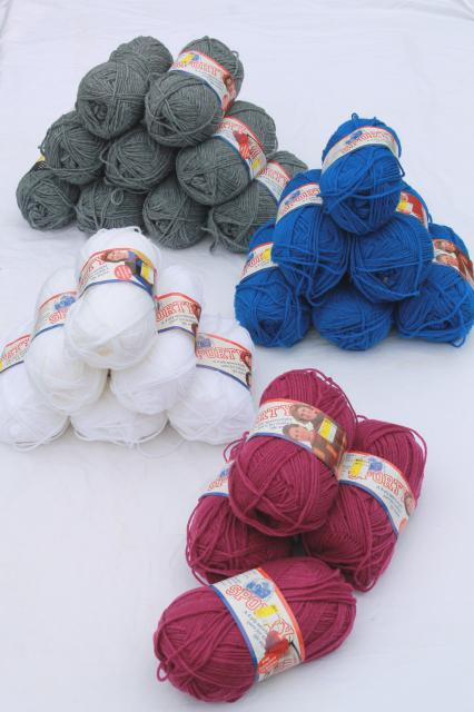 lot of vintage acrylic yarn, 90s retro colors Lion brand Sporty sport weight