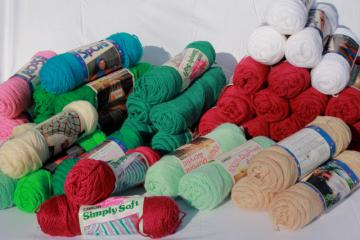 lot of vintage acrylic yarn, Caron Simply Soft, Caron Sport weight yarn for knitting / crochet