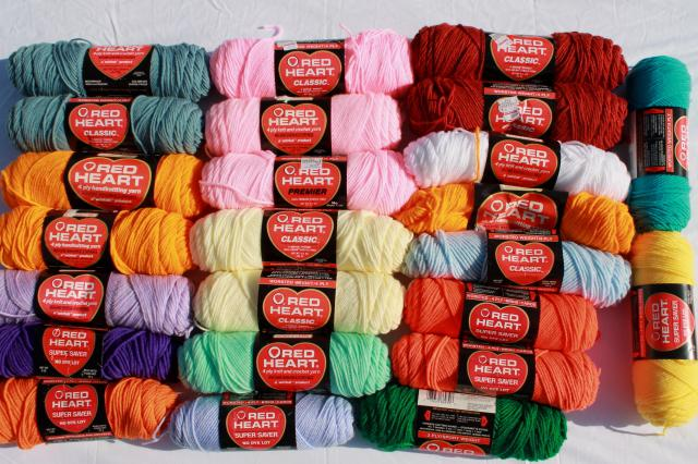 Lot Of Vintage Acrylic Yarn Red Heart Classic Super Saver