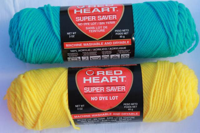 lot of vintage acrylic yarn, Red Heart Classic & Super Saver knitting / crochet yarn