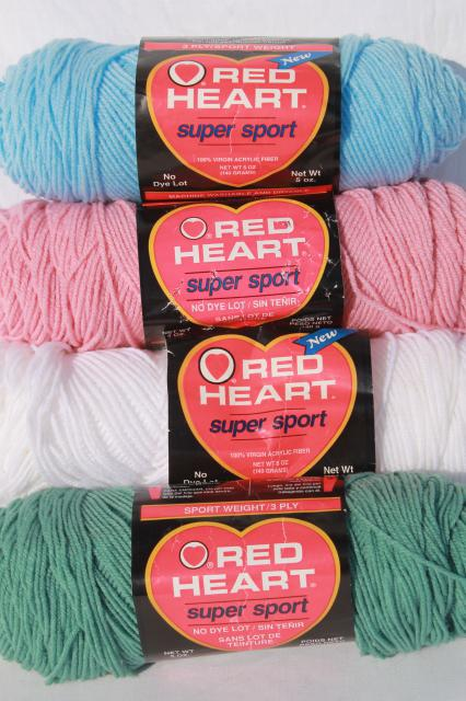 lot of vintage acrylic yarn, Red Heart Sport weight knitting / crochet yarn, retro colors