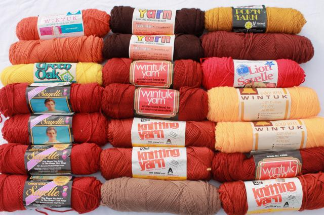 lot of vintage acrylic yarn, autumn harvest russet red brown orange colors, 20 skeins