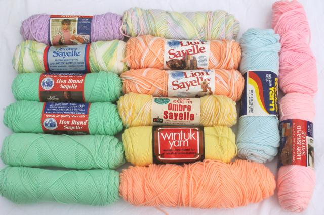 lot of vintage acrylic yarn, baby pastel colors 15 skeins, sayelle, wintuk etc.