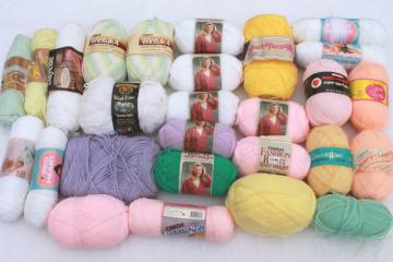 lot of vintage acrylic yarn, baby pastel colors 25+ skeins, sayelle, wintuk etc.