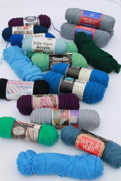 lot of vintage acrylic yarn, blue green grey purple cool colors, 18 skeins