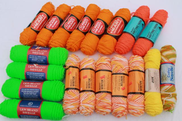 lot of vintage acrylic yarn, retro neon orange, green, varigated sherbet colors