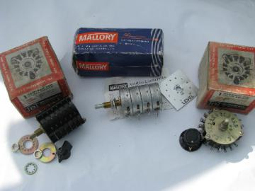 Lot of vintage J.B.T / Mallory switches, audio & homebrew shortwave radios