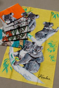 Lot of vintage linen kitchen towels, koala print linen towel collection