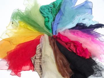 Lot of vintage scarves, sheer nylon chiffon, silk pocket squares, all colors!