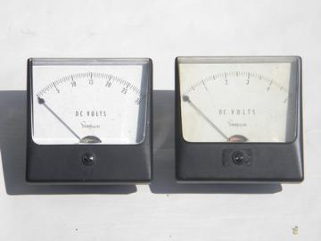 Lot of vintage Simpson D.C. volt electric panel meters