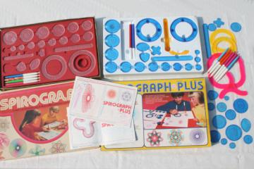 Lot of vintage Spirograph pieces & parts, incomplete Spirograph sets