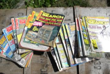 Lot old 1970s back issues Treasure Search magazines, full years.