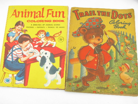 Lot old coloring books, 1950s vintage activity books for children