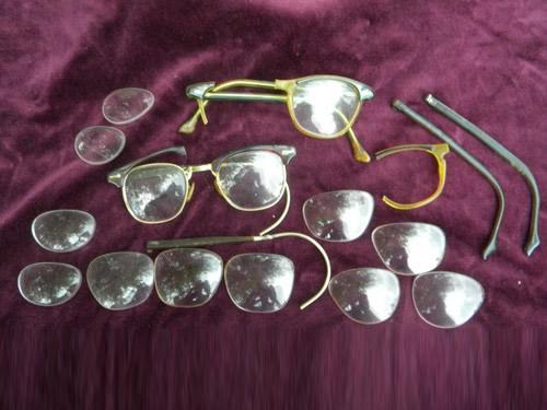Lot old & eyeglass lenses & frames scrap parts steampunk vintage