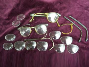 Lot old & eyeglass lenses & frames scrap parts steampunk vintage