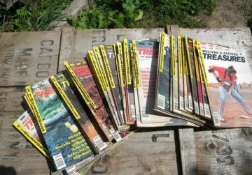 Lot old Western & Eastern Treasures magazines, full years 80s back issues