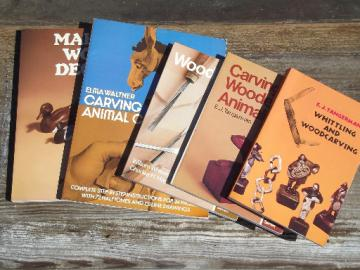 Lot out of print wood carving whittling books, crafting animals ang decoys