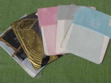 Lot retro vintage nylon stockings lot, sheer black mesh, glitter colors