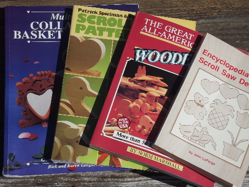 Lot scroll saw woodworking books, crafting toys, collapsible baskets etc.