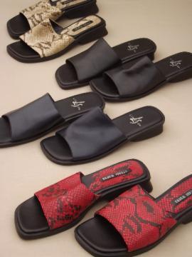 Lot size 6 shoes, low heels business dress slides, snakeskin print etc.