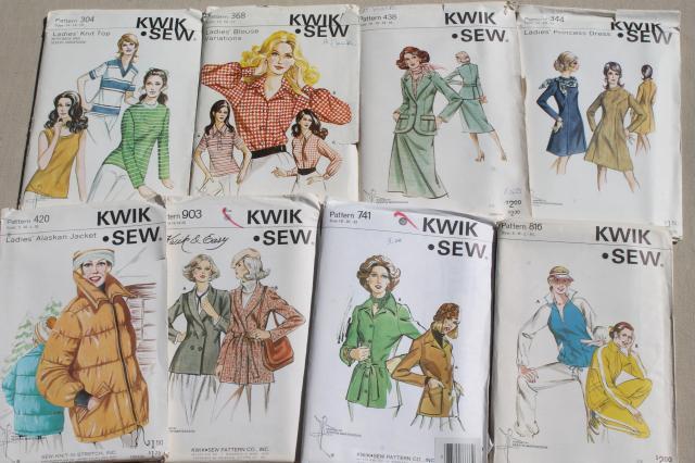 Lot Vintage Kwik Sew Sewing Patterns 80s Retro Working Girl Jackets