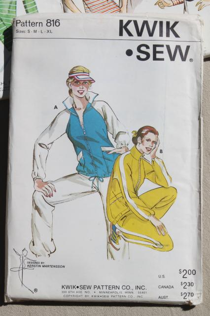 lot vintage Kwik Sew sewing patterns, 80s retro working girl jackets & sportswear