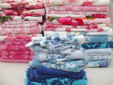 Lot vintage cotton bath towels & terrycloth hand towel washcloths, retro prints!