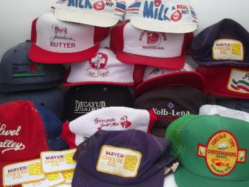 Lot vintage farmer trucker caps, dairy & cheese company advertising