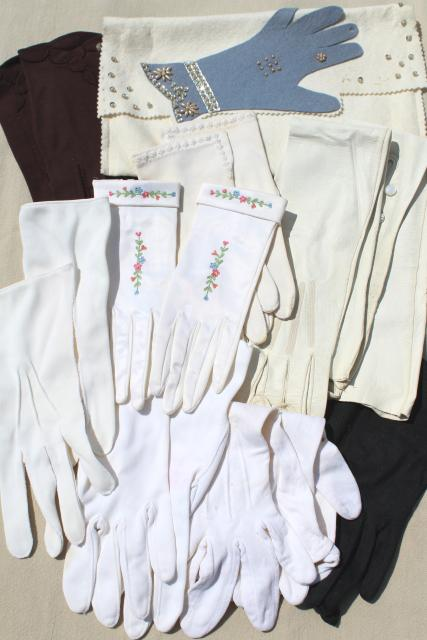 lot vintage ladies gloves, long kid leather opera gloves, short white gloves