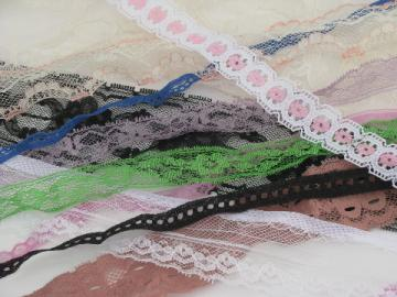 Lot vintage lingerie sewing trim, nylon lace, ruffles and insertions