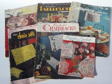 Lot vintage needlework pattern booklets, crochet lace linens tablecloths